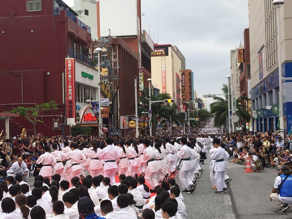 Karate day event at Kokusai Street